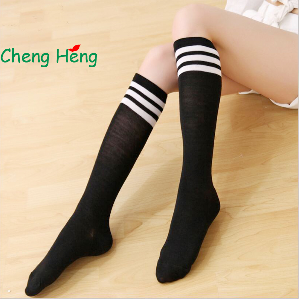 199709f23 CHENG HENG 1 Pair Socks Female Autumn And Winter Fashion New Knee Socks In  The Tube Casual Socks Stripe Art Socks-in Stockings from Underwear    Sleepwears ...