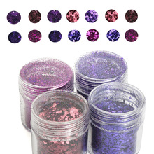 4Jar/Set 10ml 3D Mix Size Nail Glitter Powder  Set For Art 4 Colors Acrylic Mixes UV Gel Polish YU4575-56675