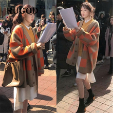 RUGOD Ins Fashion plaid women cardigans Korean chic thicken loose female auturm ladies knitted cardigan feminino mujer invierno