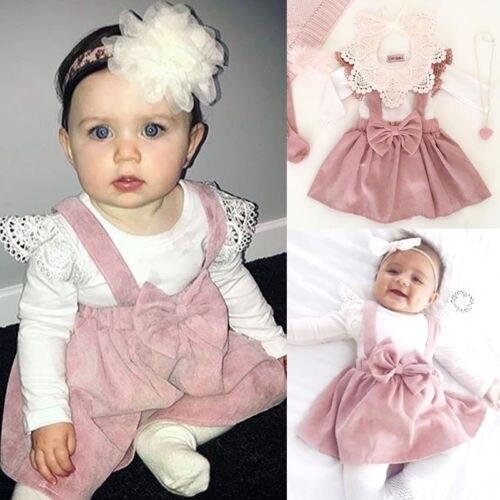 Newborn Infant Baby Girl Lace Clothes Set Long Sleeve T-shirt Tops Pink Skirt Headband Autumn Cotton Girls Kids Outfits