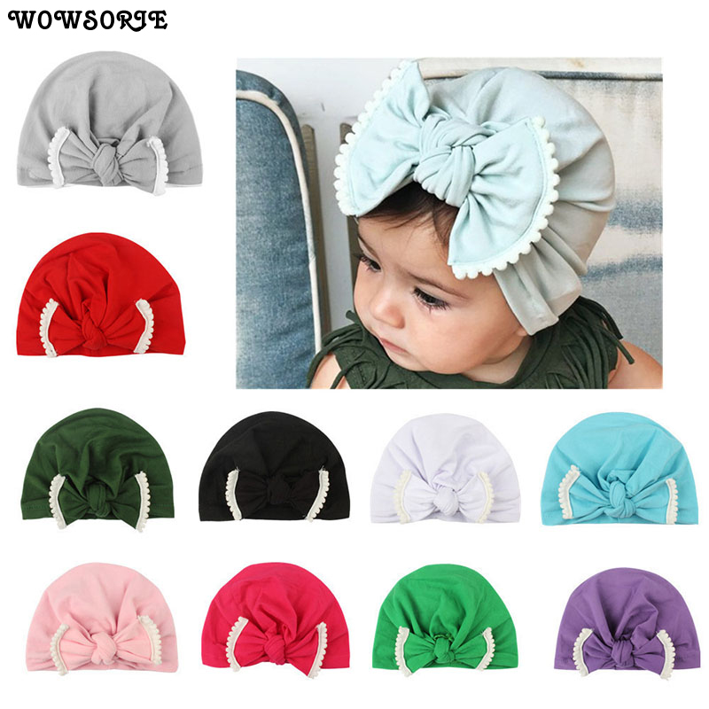 OLN 100% Cotton Warm Hat Children Knot Bow Spring Autumn Headwear Little Girl Princess Beanies Comfortable Toddler Hats OLN058H