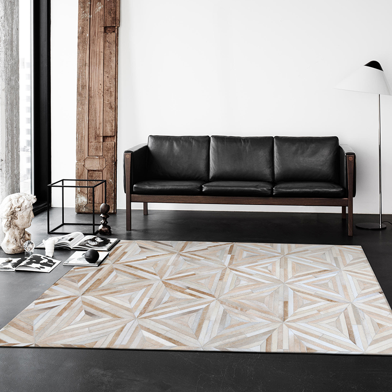 Modern style luxury cowhide seamed patchwork rug natural cow skin triangles carpet for living room bedroom decoration mat