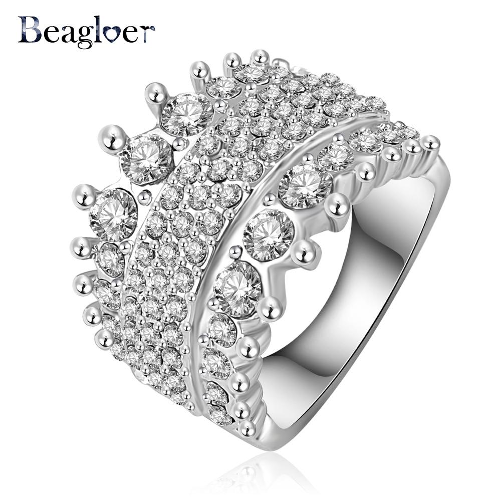 Beagloer Ring Vintage Royal Princess Ring Genuine Swa Elements Austrian  Crystal Costume Rings 28*14mm