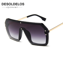 One Piece Sunglasses Square Men Half Metal Summer Style Oversized Sun Glasses for Women Large Candy Colors