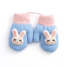 Высокое качество для маленьких мальчиков девочек Утепленная одежда перчатки зимние вязаные шерстяные висит шеи Дети перчатки милый кролик узор детские перчатки