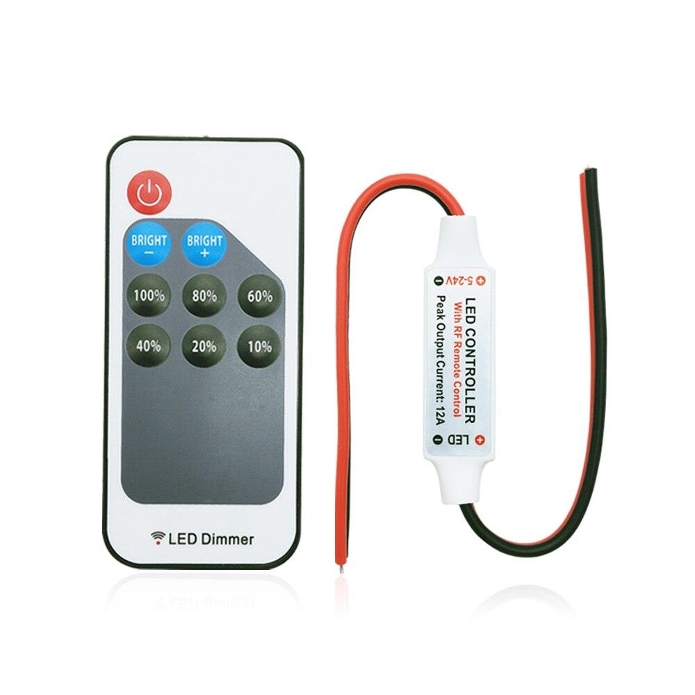 Mini cc 5-24V 9key led de contrôle gradateur 12A sans fil RF télécommande pour contrôler l'éclairage de bande de couleur unique 3528 5050 led bande