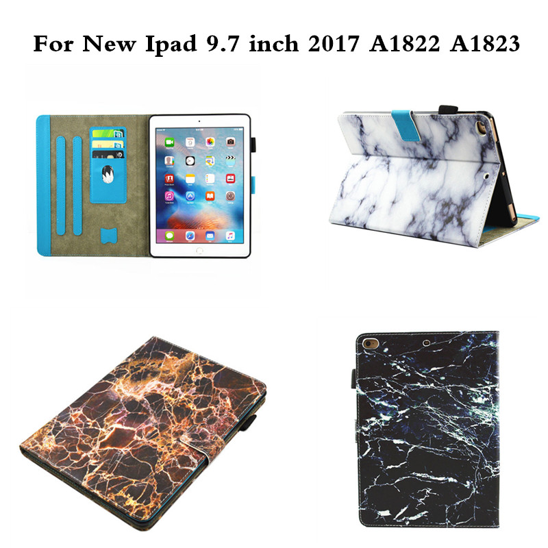 Flip PU Leather Case  For Apple new iPad 9.7 inch 2017 A1822 A1823 Tablet TPU Back Cover Fashion High Quality Painted Marbling jialong mini 4 smart pu leather case for apple ipad mini 4 7 9 tablet flip cover soft tpu back cover cute little girl yao