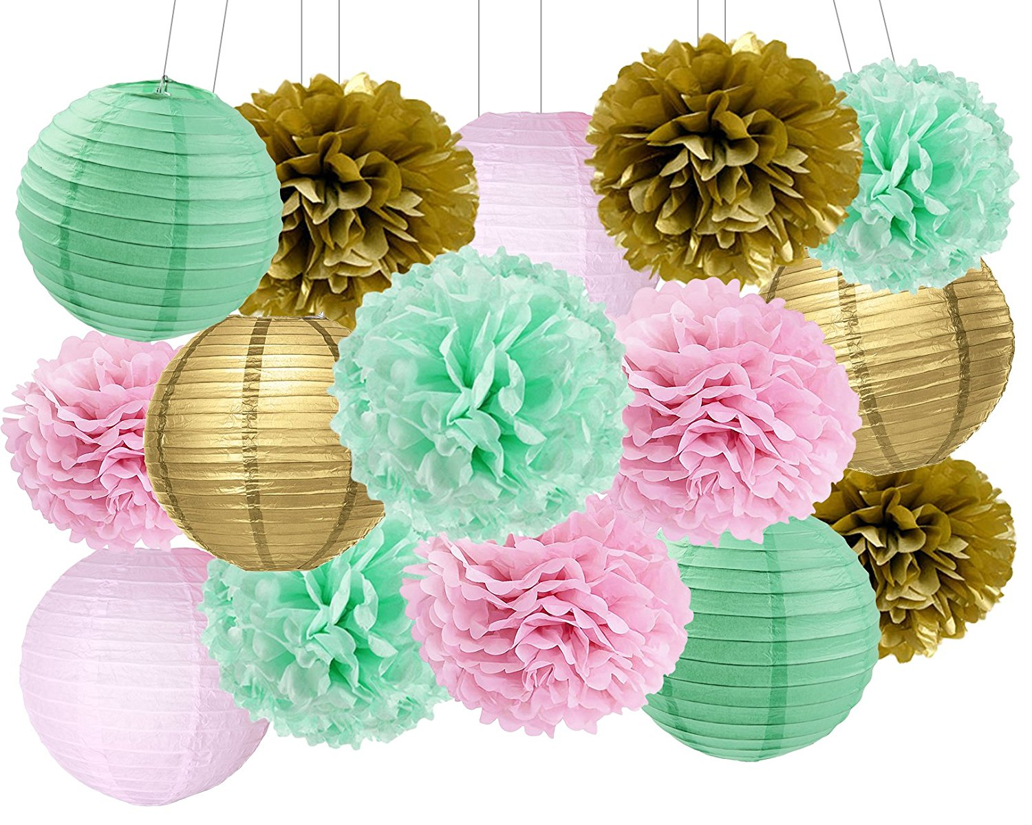 Us 16 98 15pcs Mint Pink Gold Party Hanging Paper Ball Pom Poms Diy Wedding Flower Girl Baby Shower Birthday Bridal Shower Party Supply In Party Diy