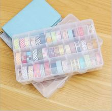 PP Transparent Washi Tape Box Stationary Storage Box Washi Tape Set Tools Scrapbooking Stationery Accessories cheap Stationery Holders Plastic 12312 15 GongGe Can t 15 GongGe and paper tape receive a case Simple 15 GongGe receive a case