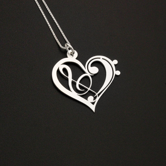 70Heart Clef G clef bass clef heart Necklace silver music note Treble clef Pendant charm necklace music note necklace Sterling Silver Gift