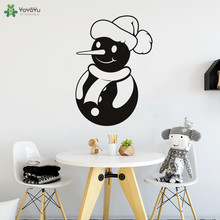 YOYOYU Wall Decal Merry Christmas Snowman Sticker Shop Window Art Design Decor Home Decoration Cute Kids Room Poster CT601