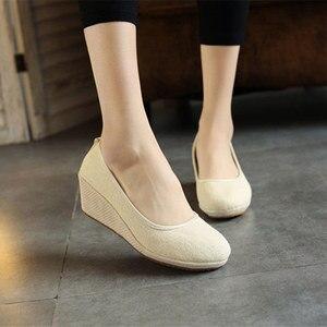Image 4 - Veowalk Handmade Women Plain Linen Cotton Wedge Espadrilles Vintage Solid Color Ladies High Heel Slip on Platforms Pumps Shoes