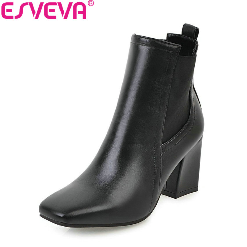 ESVEVA 2018 Women Boots Solid Synthetic Vintage Style Ankle Boots Square Toe Square High Heel Black Boots for Women Size 34-43 nikove 2018 zippers solid women boots vintage style ankle boots square high heel square toe ladies fashion boots size 34 39
