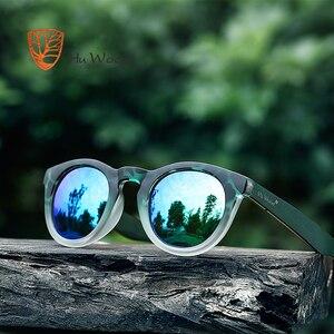 HU WOOD Fashion Oval Sunglasses Polarized Lenses Striped Wood Frame Clout Goggles Women Pink Sun Glasses Men Transparent GR8006