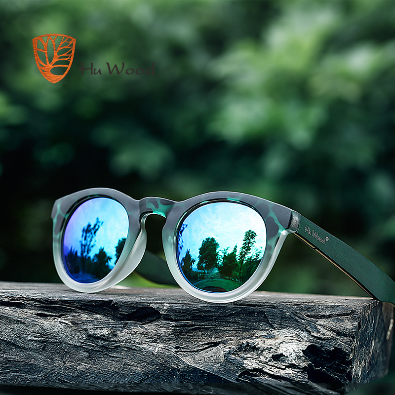 HU WOOD Fashion Oval Solglasögon Polariserade Linser Striped Wood Frame Clout Goggles Kvinnor Rosa Sun Glasses Men Transparent GR8006