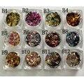 12 Brillo Del Arte Del Clavo Formas REDONDAS Confetti Sequins Extremidades De Acrílico UV Gel B Estilo Venta 12jar/set