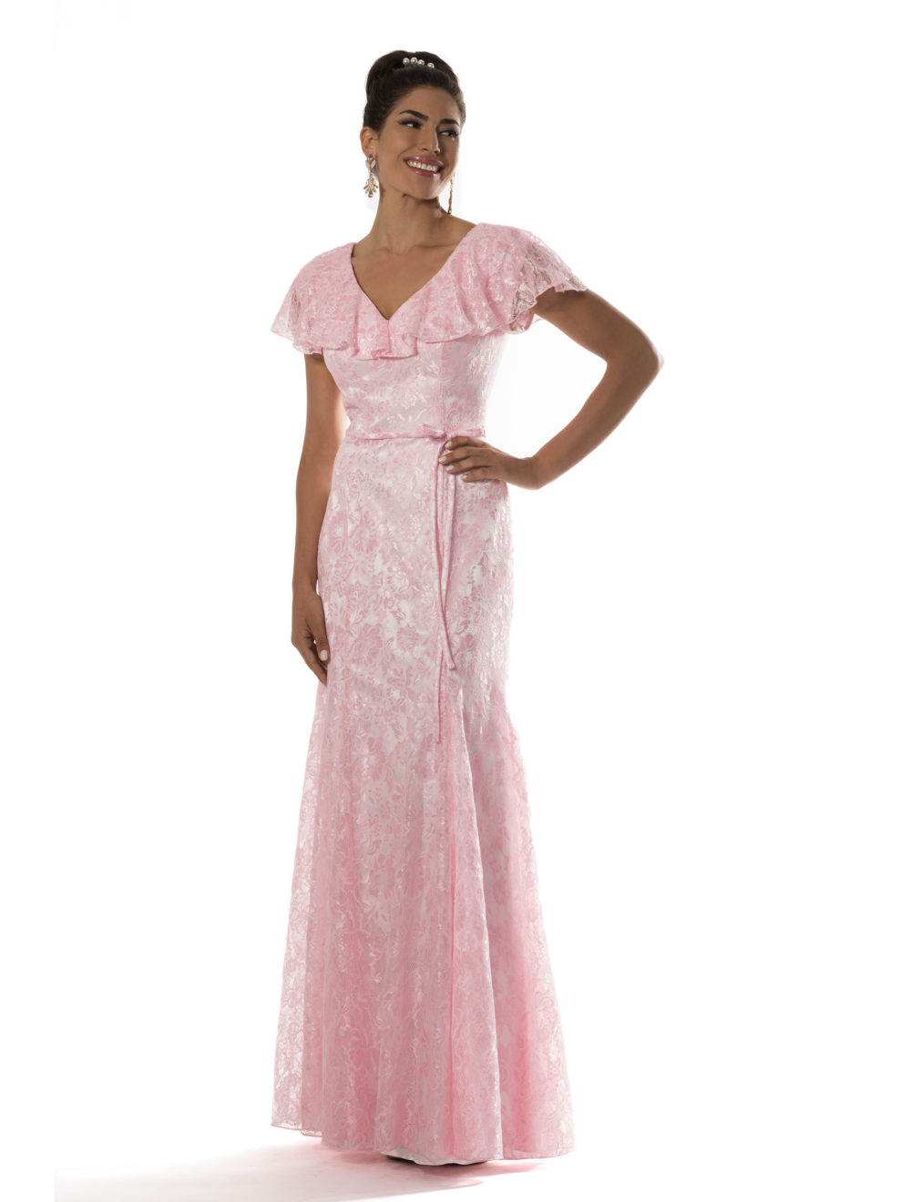 Rosa de Encaje Vintage Sirena Modestos Vestidos de Dama de 2017 Con ...