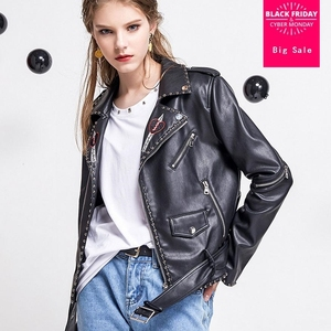 2020 autumn Fashion brand Good Quality rivet beading leather jacket Ladies Street style zipper short PU Leather Jacket wj1084