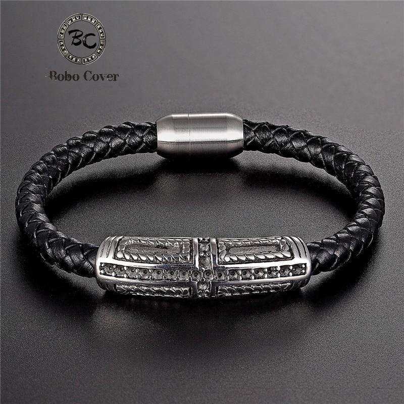 Men/'s Unisex Genuine Leather Rope Style Gold//Black Bracelet Wristband Hand Charm