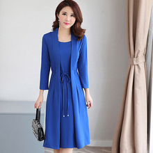 2018 New Spring Fashion Women dress Short Sleeve False Two Long Dresses Blue Black Dark Green Wine Red 8862