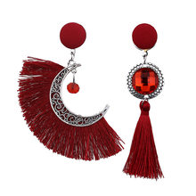 bohemian Retro asymmetric sun moon statement earrings 2019 drop dangle tassel earrings for women fringe earringsfashion jewelry(China)