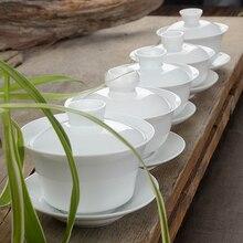 Традиционный китайский чай набор Gaiwan белый фарфоровый чайный сервиз Супница чашка чаша чайная церемония кунг-фу керамика цветочный чай мастер чашка