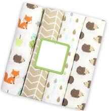 4 pçs/lote Flanela Cobertor para Recém-nascidos Swaddle Musselina Cobertores Do Bebê Recém-nascido de Algodão Macio Fraldas de Musselina Swaddle Cobertor Envoltório Bebê