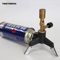 YINGTOUMAN Portable Brass Furnace Disinfect Gas Light Camping Lamps Use Flat/Long Tank Gas Lantern Burner Lamp with adapter