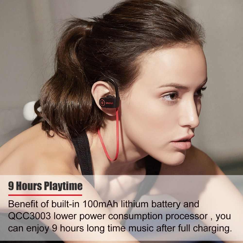 Wavefun x-buds Bluetooth 5.0 słuchawki IPX7 wodoodporne AAC słuchawki bezprzewodowe sportowe słuchawki douszne z mikrofonem dla iPhone xiaomi Huawei