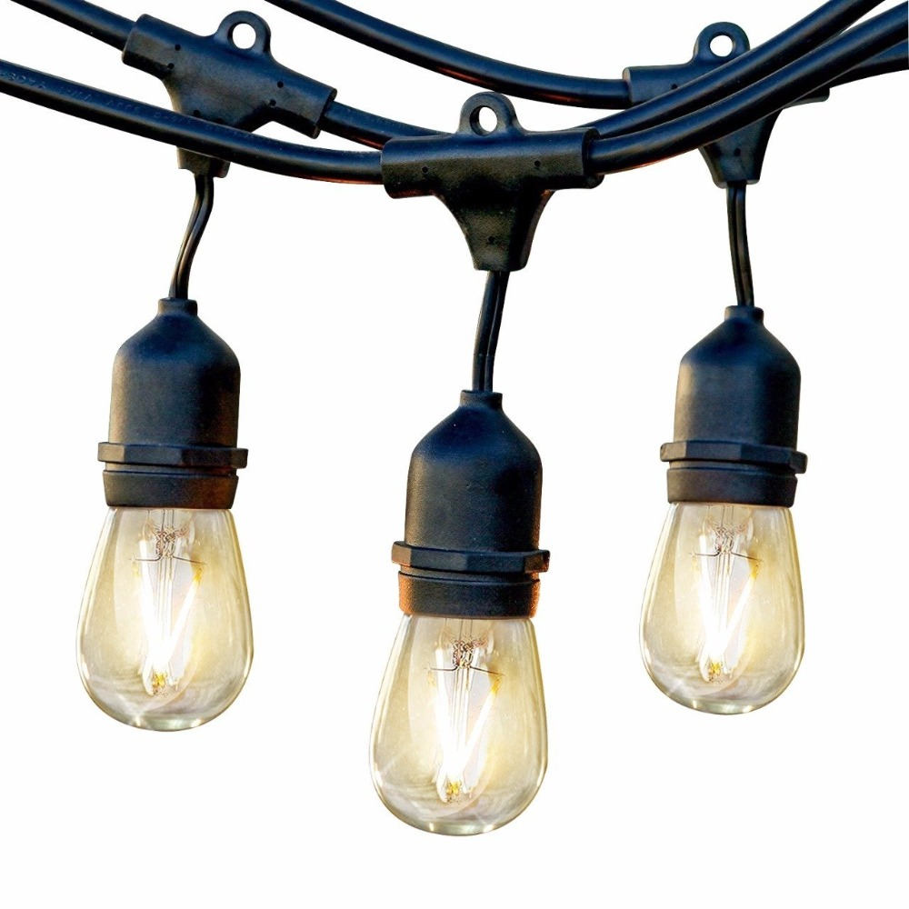LED Commercial Grade Outdoor Light Strand with Hanging Sockets - 48 Ft Market Cafe Edison Vintage Bistro Weatherproof Porc 24 feet outdoor string lights weatherproof commercial grade outdoor lights with 12 hanging sockets and 18 edison bulb 11w