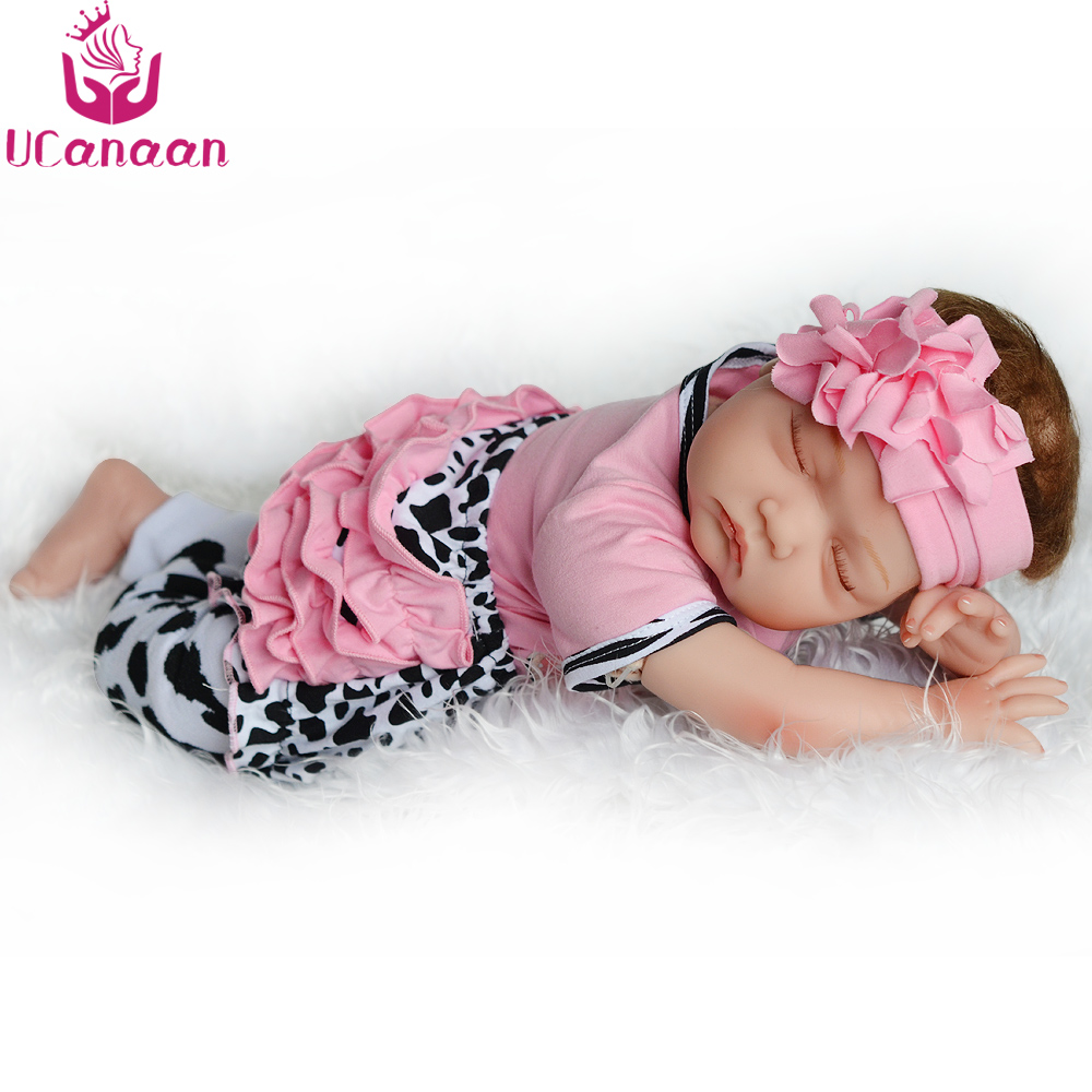 купить UCanaan 22'' Cloth Body Baby Doll 55CM Silicone Dolls Reborn Sleeping Babies Newborn Toys For Girls Birthday Gifts Kids Toy по цене 2825.16 рублей