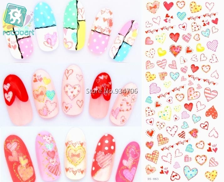Rocooart DS063 Water Transfer Foils Nail Art Sticker Fashion Nails Colorful Love Manicure Decals Minx Cute Nail Decorations patriot max power srge 1500