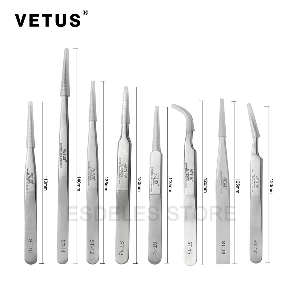 100% Genunie VETUS Tweezer Stainless Steel False Eyelash Extension Tweezers High Precision Anti-magnetic Multifunction недорого