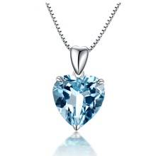 Jewelry Gift for Her Romantic Necklace Pendant Genuine 925 Sterling Silver Chain Link Necklace Blue Color Gems Heart Pendant