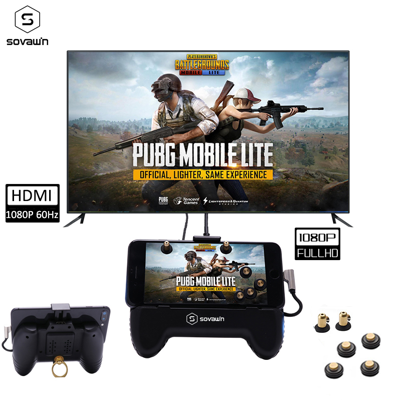 PUBG Controller Mobile Gamepad HDMI Display Adapter Game Pad Joystick for iPhone Android Same Screen Converter To TV Projector