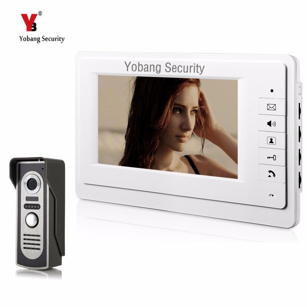 Yobangsecurity 7 дюймов проводной видео домофонов Системы охранных Камера дверь видео домофоны 1-Камера 1-монитор ночное видение