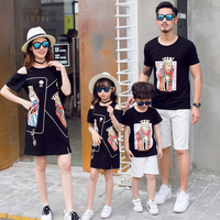 Family Outfits Korean Fashion Parent child Dress Summer New Seaside Mother daughter Dress Black Poker Face Cotton T Shirts C959