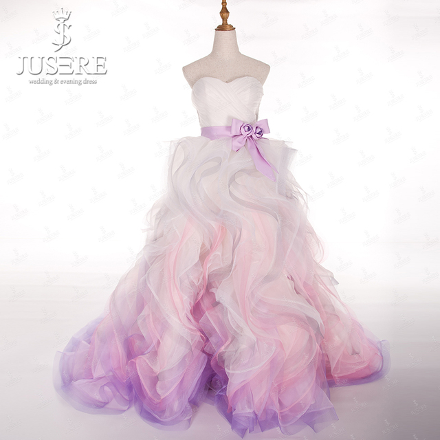 A Line Bridal Gown Knot Belt Waistline Tie Closure Back Sweetheart Ruffles Pleat Pink Purple Colorful