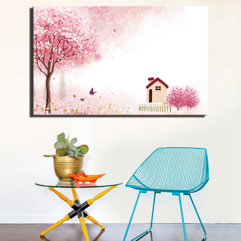 Color For Kids Room: Aliexpress.com : Buy Lovely Pink Color Abstract Landscape