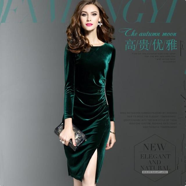 61014265ca3 New Women Velvet Dress O-neck Green Black Slit Knee-Length Office Plus Size  Mid Long Sleeves Dress 2018 Vestidos Mujer