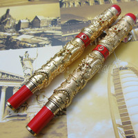 2pcs Jinhao Chinese double Dragons Playing With The Pearl Heavy pen Black Fountain Pen and Ball pen with Gift Box J11T2L