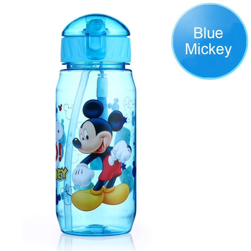 Disney 17 Children Straw Plastic Water Bottle BPA Free Lovely Cartoon Eco-friendly With lid Portable Camp Student Water tumble 20