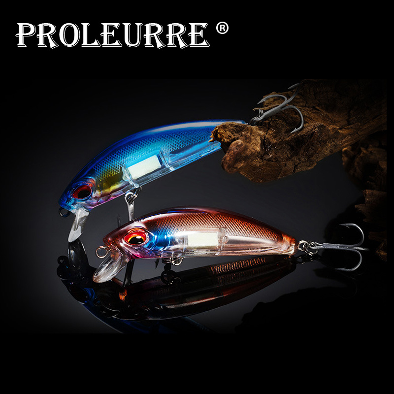Proleurre 1pcs Boxed Fishing Lure 7cm 10.5g Luminous Night Minnow Artificial Professional Laser Printing Sinking Wobblers Pesca