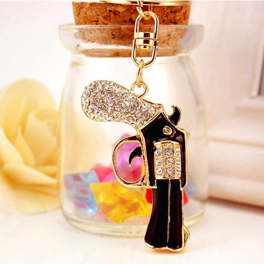 Novelty Charm Fashion Rhinestone Gun Metal Key Chain Keyring Holder Trinket Fobs For Women Girl Gift Souvenir Jewelry R156