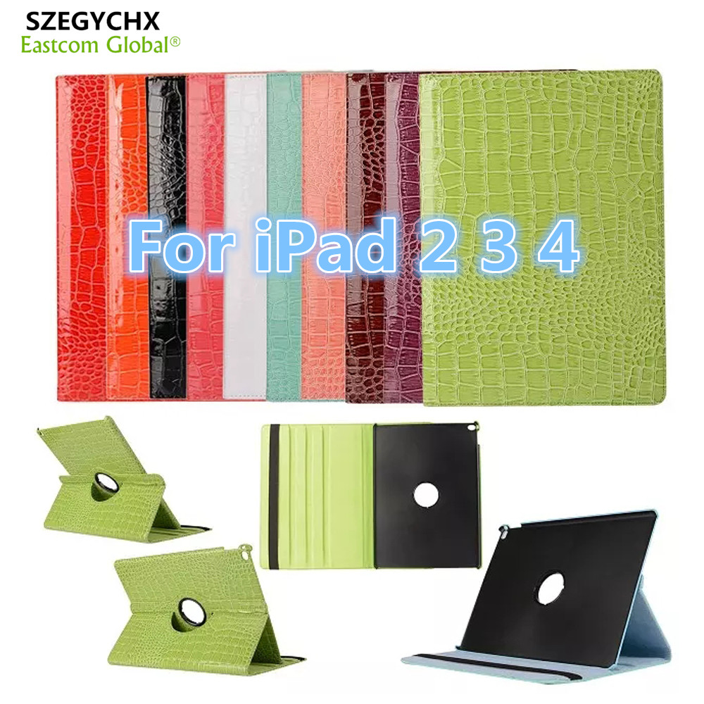 Tablet Case for iPad 234 360 Rotation Flip PU Leather Crocodile Case for iPad 234 Smart Cover Case With Stand Function SZEGYCHX eyw for apple ipad air2 ipad 6 luxury crocodile pattern 360 rotation stand folio pu leather smart cover case for ipad air 2
