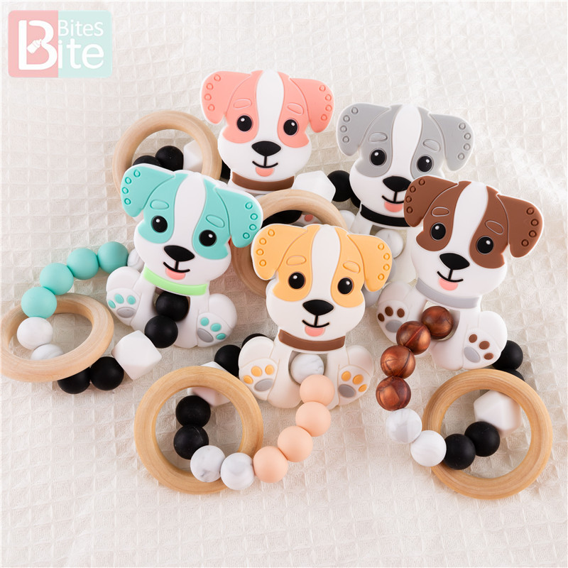 Bite Bites 5PC Baby Toy 0 12 Months Trolley Rattle Puppy Silicone Baby Chews Soft Mobile