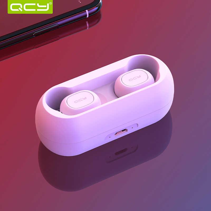 QCY qs1 słuchawki Bluetooth 5.0 TWS słuchawki mini niewidoczne 3D HiFi bezprzewodowy zestaw słuchawkowy stereo z bankiem energii ładowania/T1C