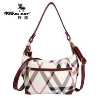 FERAL CAT Pvc Women Handbags 2017 Vintage Lladies Shoulder Hobo Bag Plaid Crossbody Brand Designer Travel