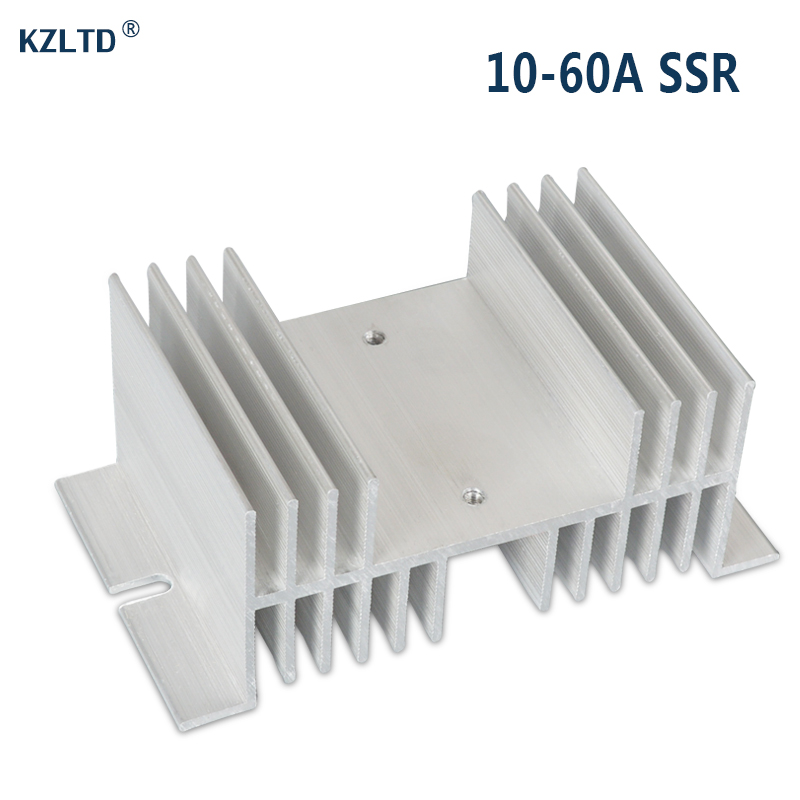 SSR Aluminum Heat Sink 25A 30A Silver Tone Solid State Relay HeatSink Radiator for Single Phase SR-W