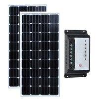 Kit Solaire 300w Solar Panel 12v 150w 2Pcs Solar Charge Controller 12v/24v 10A Caravan Car Camp Motorhome Rv Home Use